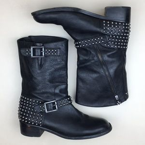 Vince Camuto Waris Black Leather Studded Moto Boot
